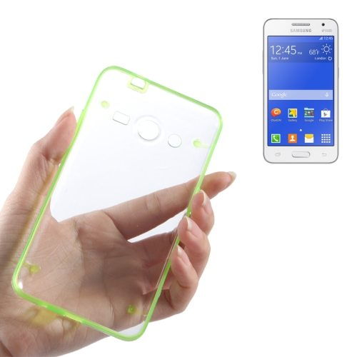 Ultrathin Luminous Frame Hard Transparent PC Back Case for Samsung Galaxy Core 2/ G355H (Green)