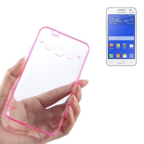 Ultrathin Luminous Frame Hard Transparent PC Back Case for Samsung Galaxy Core 2/ G355H (Magenta)
