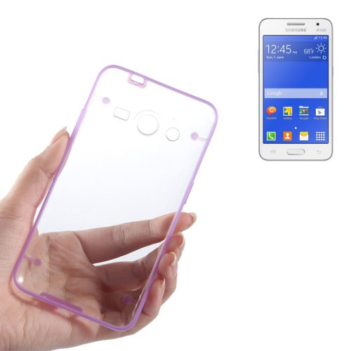Ultrathin Luminous Frame Hard Transparent PC Back Case for Samsung Galaxy Core 2/ G355H (Purple)