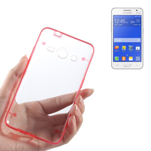 Ultrathin Luminous Frame Hard Transparent PC Back Case for Samsung Galaxy Core 2/ G355H (Red)
