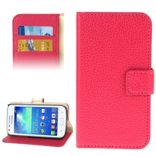 Litchi Texture Flip Wallet Leather Case for Samsung Galaxy Core Plus/ G3500 (Rose)
