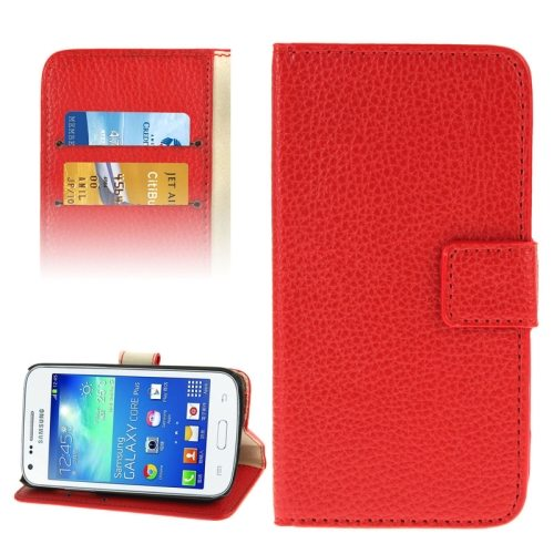 Litchi Texture Flip Wallet Leather Case for Samsung Galaxy Core Plus/ G3500 (Red)