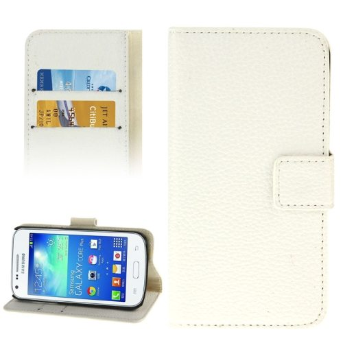 Litchi Texture Flip Wallet Leather Case for Samsung Galaxy Core Plus/ G3500 (White)