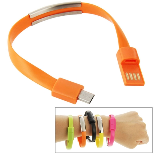 24cm Wearable Bracelet Sync Data Charging Cable for Samsung Galaxy S6 / S5 / S4, for LG, for HTC etc (Orange)