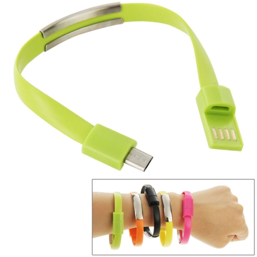 24cm Wearable Bracelet Sync Data Charging Cable for Samsung Galaxy S6 / S5 / S4, for LG, for HTC etc (Lime)