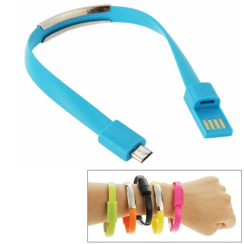 24cm Wearable Bracelet Sync Data Charging Cable for Samsung Galaxy S6 / S5 / S4, for LG, for HTC etc (Blue)