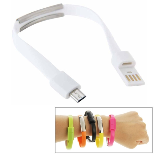 24cm Wearable Bracelet Sync Data Charging Cable for Samsung Galaxy S6 / S5 / S4, for LG, for HTC etc (White)