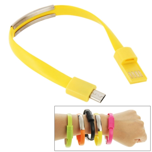 24cm Wearable Bracelet Sync Data Charging Cable for Samsung Galaxy S6 / S5 / S4, for LG, for HTC etc (Yellow)