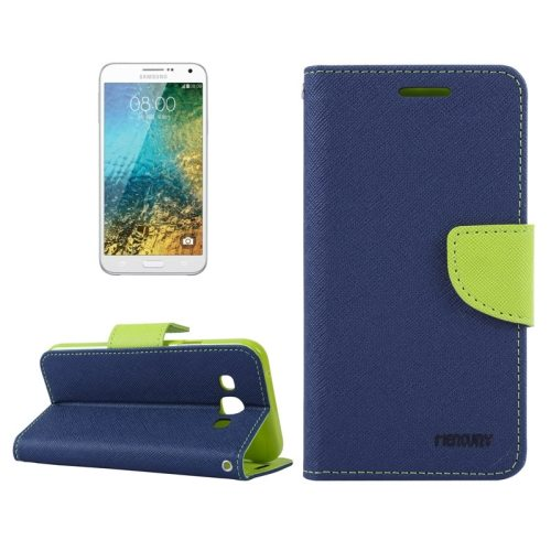 MERCURY Cross Texture Flip Leather Wallet Case for Samsung Galaxy E7 with Card Slots (Dark Blue)