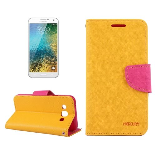 MERCURY Cross Texture Flip Leather Wallet Case for Samsung Galaxy E7 with Card Slots (Orange)