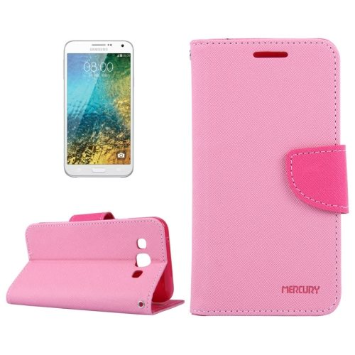 MERCURY Cross Texture Flip Leather Wallet Case for Samsung Galaxy E7 with Card Slots (Pink)