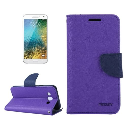 MERCURY Cross Texture Flip Leather Wallet Case for Samsung Galaxy E7 with Card Slots (Purple)