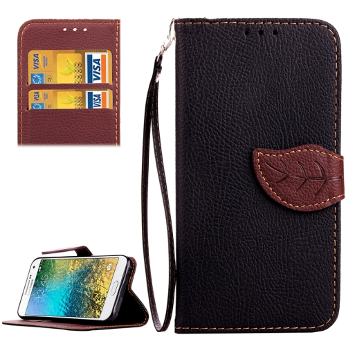 Leaf Magnetic Buckle Pattern Litchi Texture Flip Leather Wallet Case for Samsung Galaxy E7 E7000 with Lanyard (Black)