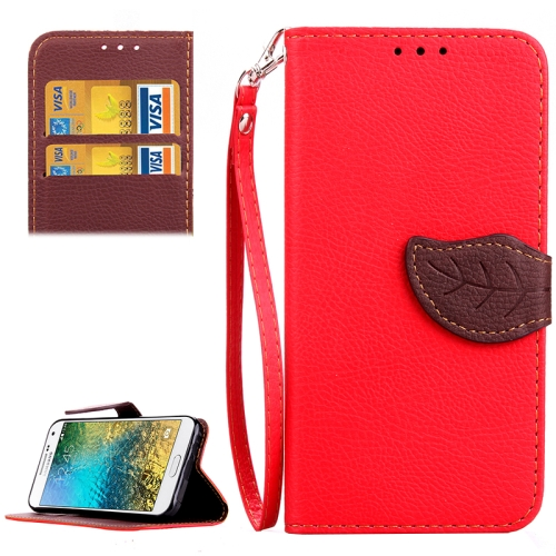 Leaf Magnetic Buckle Pattern Litchi Texture Flip Leather Wallet Case for Samsung Galaxy E7 E7000 with Lanyard (Red)