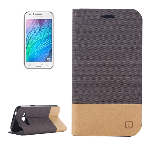 Canvas Leather Wallet Flip Stand Case for Samsung Galaxy J1 with Card Slot & Stand (Coffee)