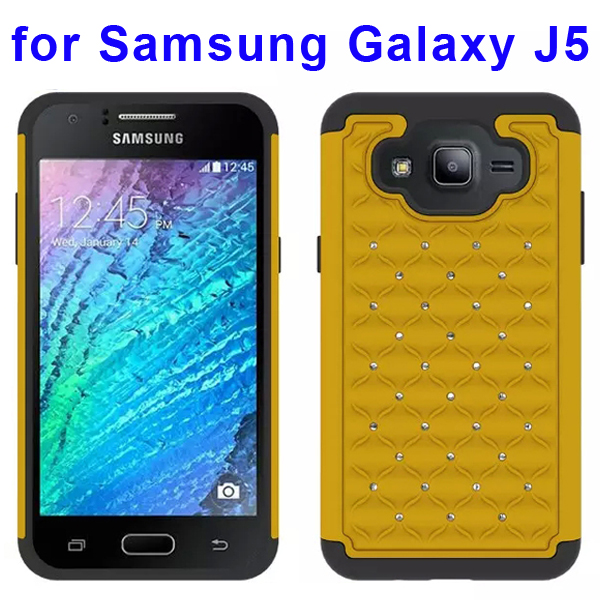 Bling Bling Diamond Studded Silicone and PC Shockproof Hybrid Case for Samsung Galaxy J5 (Yellow)