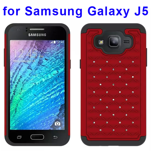 Bling Bling Diamond Studded Silicone and PC Shockproof Hybrid Case for Samsung Galaxy J5 (Red)
