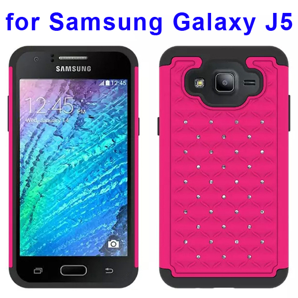 Bling Bling Diamond Studded Silicone and PC Shockproof Hybrid Case for Samsung Galaxy J5 (Rose)