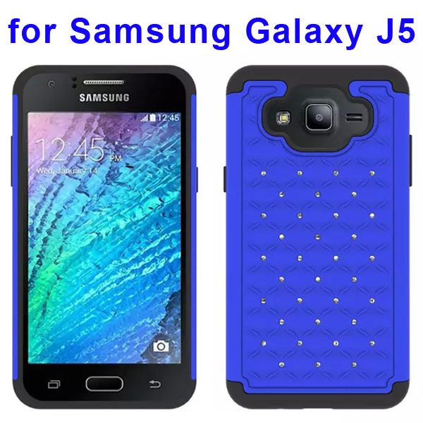 Bling Bling Diamond Studded Silicone and PC Shockproof Hybrid Case for Samsung Galaxy J5 (Blue)