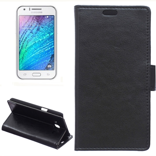 Horizontal Crazy Horse Texture Wallet Style Flip Leather Case Cover for Samsung Galaxy J5 (Black)