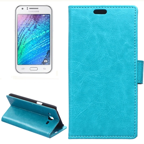 Horizontal Crazy Horse Texture Wallet Style Flip Leather Case Cover for Samsung Galaxy J5 (Blue)