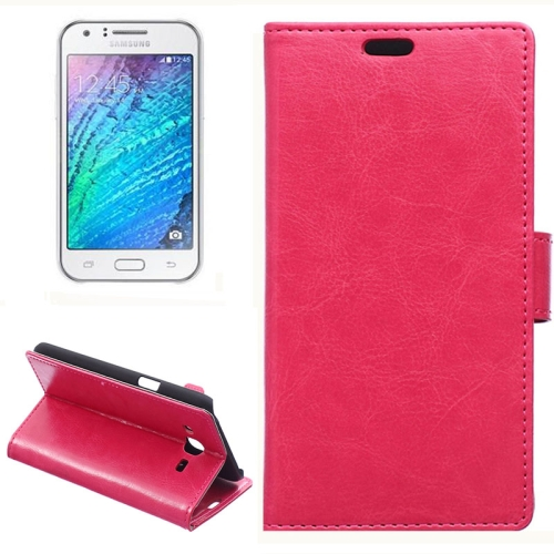 Horizontal Crazy Horse Texture Wallet Style Flip Leather Case Cover for Samsung Galaxy J5 (Rose)