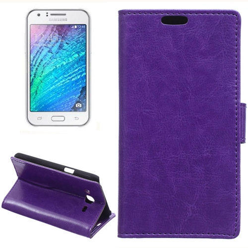 Horizontal Crazy Horse Texture Wallet Style Flip Leather Case Cover for Samsung Galaxy J5 (Purple)