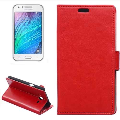 Horizontal Crazy Horse Texture Wallet Style Flip Leather Case Cover for Samsung Galaxy J5 (Red)