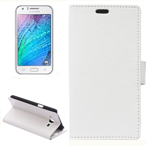 Horizontal Crazy Horse Texture Wallet Style Flip Leather Case Cover for Samsung Galaxy J5 (White)