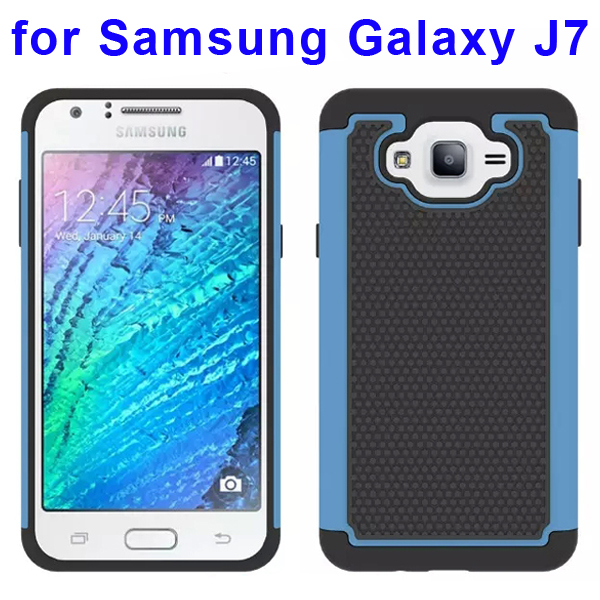 Football Texture Rugged Silicone and PC Protective Hybrid Case for Samsung Galaxy J7 (Baby Blue)