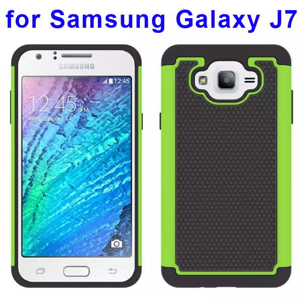 Football Texture Rugged Silicone and PC Protective Hybrid Case for Samsung Galaxy J7 (Green)