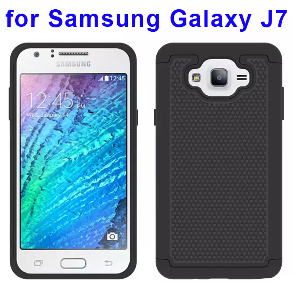 Football Texture Rugged Silicone and PC Protective Hybrid Case for Samsung Galaxy J7 (Black)