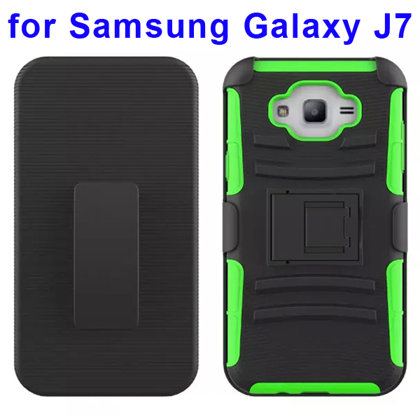 Hybrid Kickstand Belt Clip Silicone and PC Protective Rugged Case for Samsung Galaxy J7 (Green)