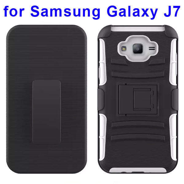 Hybrid Kickstand Belt Clip Silicone and PC Protective Rugged Case for Samsung Galaxy J7 (White)
