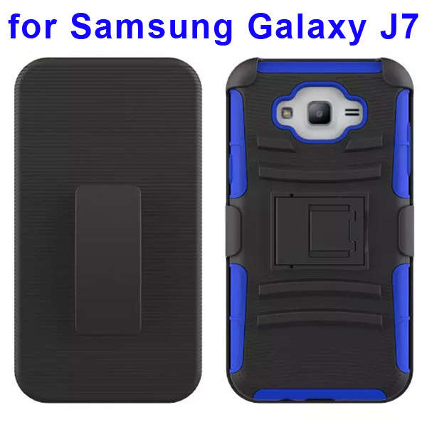 Hybrid Kickstand Belt Clip Silicone and PC Protective Rugged Case for Samsung Galaxy J7 (Dark Blue)