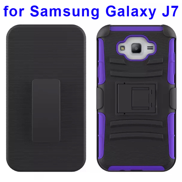 Hybrid Kickstand Belt Clip Silicone and PC Protective Rugged Case for Samsung Galaxy J7 (Purple)