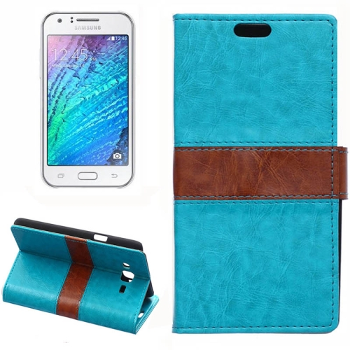 Crazy Horse Texture Color Matching Flip Leather Case with Holder & Card Slots & Wallet for Samsung Galaxy J7 (Blue)