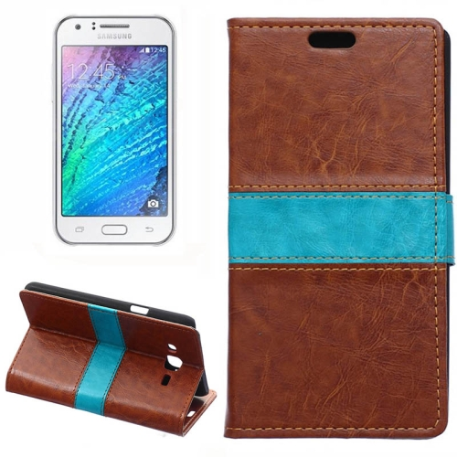 Crazy Horse Texture Color Matching Flip Leather Case with Holder & Card Slots & Wallet for Samsung Galaxy J7 (Brown)