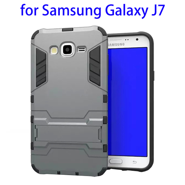 3 in 1 Pattern TPU and PC Hybrid Protective Cover for Samsung Galaxy J7 (Grey)