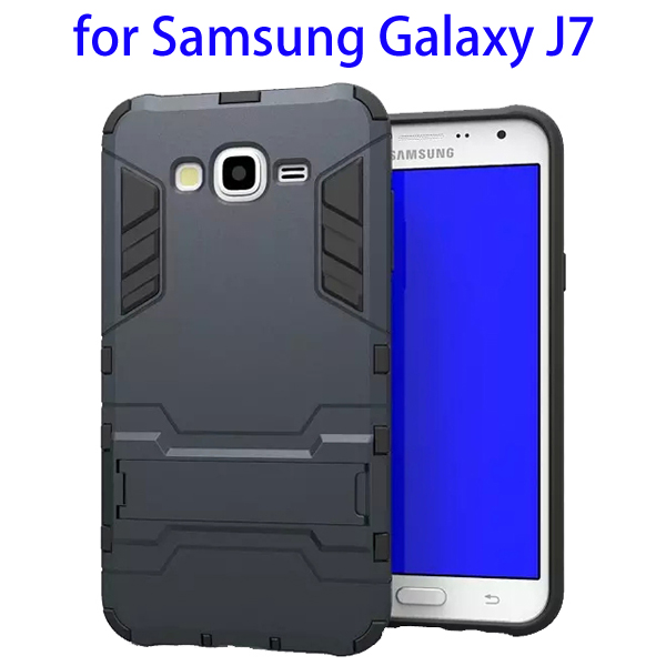 3 in 1 Pattern TPU and PC Hybrid Protective Cover for Samsung Galaxy J7 (Black)