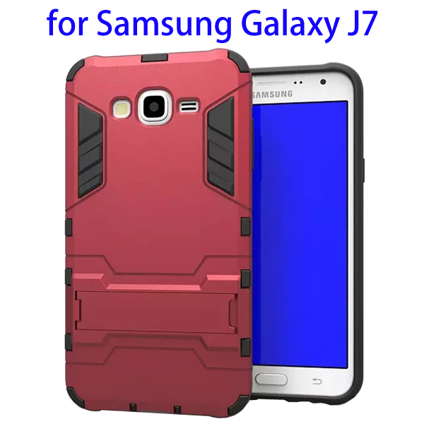 3 in 1 Pattern TPU and PC Hybrid Protective Cover for Samsung Galaxy J7 (Red)