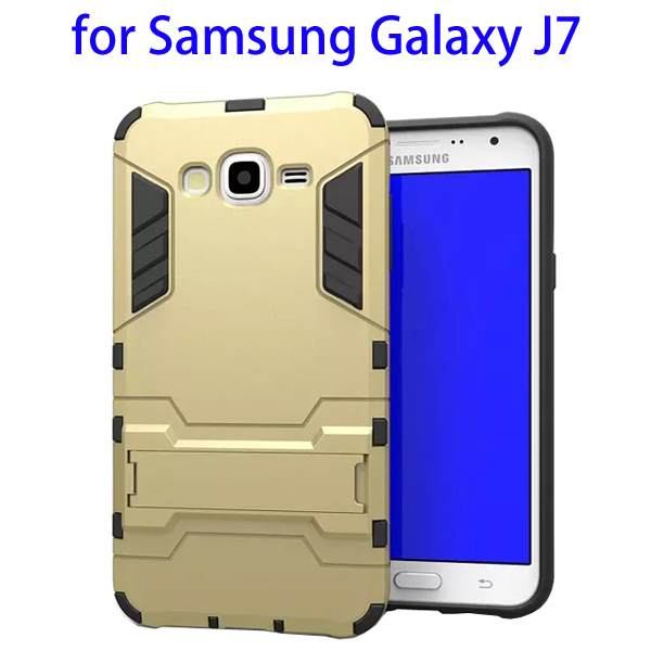 3 in 1 Pattern TPU and PC Hybrid Protective Cover for Samsung Galaxy J7 (Gold)