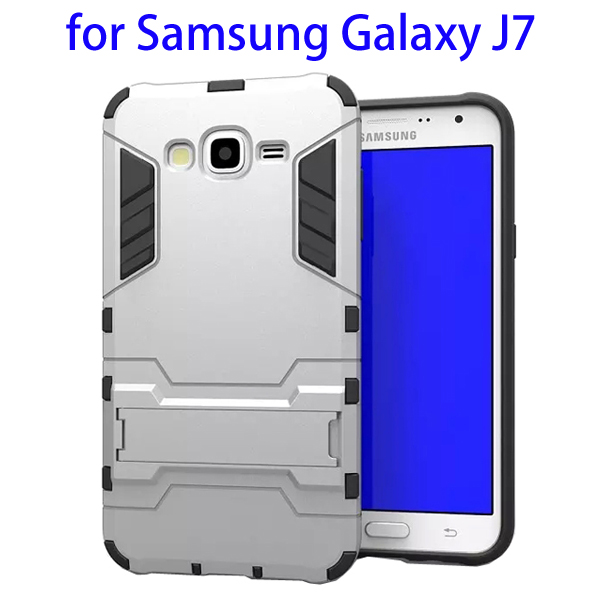 3 in 1 Pattern TPU and PC Hybrid Protective Cover for Samsung Galaxy J7 (Silver)