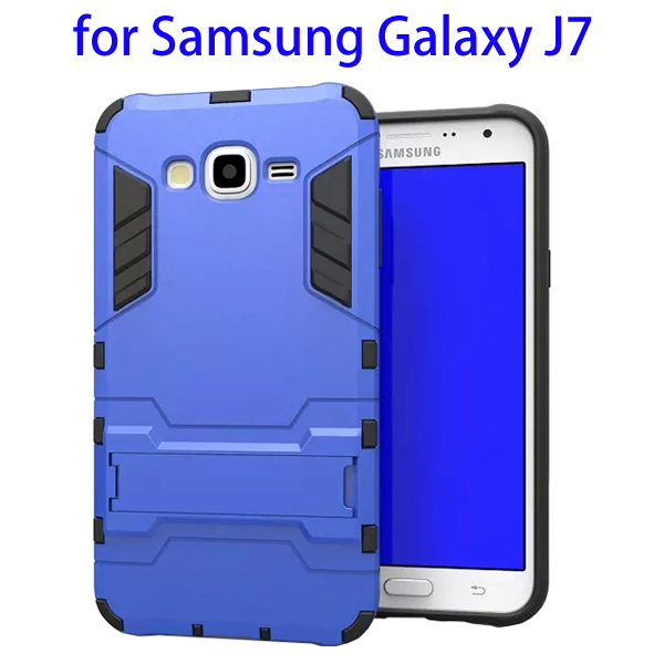 3 in 1 Pattern TPU and PC Hybrid Protective Cover for Samsung Galaxy J7 (Blue)