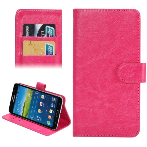 Crazy Horse Texture 360 Degree Rotating 5.5-6.3 Inch Universal Flip Leather Case for Samsung Galaxy Mega 6.3 etc (Rose)
