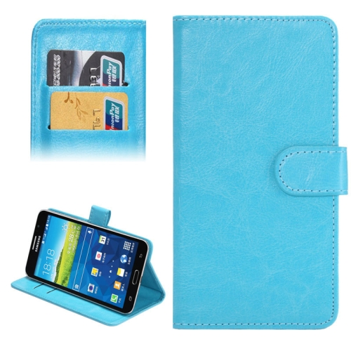 Crazy Horse Texture 360 Degree Rotating 5.5-6.3 Inch Universal Flip Leather Case for Samsung Galaxy Mega 6.3 etc (Blue)