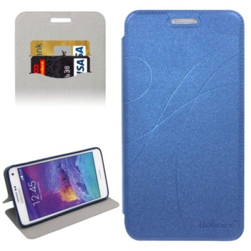 Knurling Texture Horizontal Folio Flip Leather Protective Case for Samsung Galaxy Note 4 N910 with Card Slots (Blue)