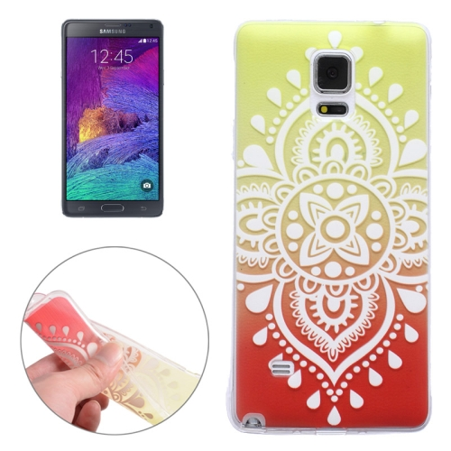 Translucent Flower Pattern Ultrathin Soft TPU Protective Case for Samsung Galaxy Note 4 (Pattern 6)
