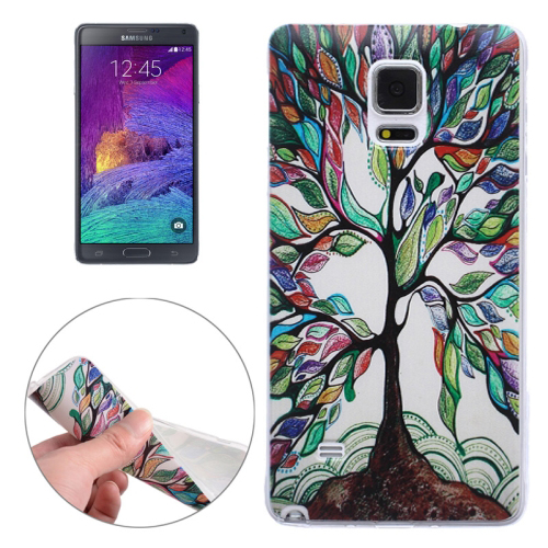 Ultra-thin Transparent TPU Protective Case for Samsung Galaxy Note 4 (Colorful Tree)