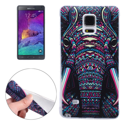 Ultra-thin Transparent TPU Protective Case for Samsung Galaxy Note 4 (Colorful Elephant)